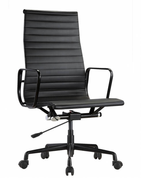 Eames Style Black Genuine Leather High Back Chair