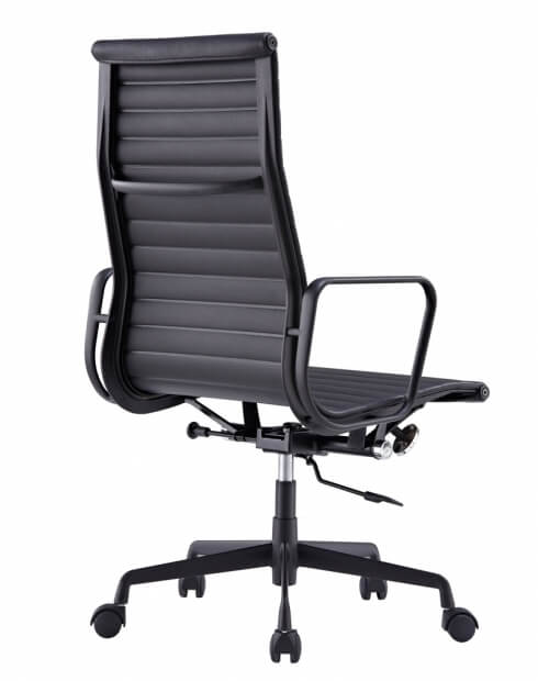 Back - Eames Style Black Genuine Leather High Back Chair