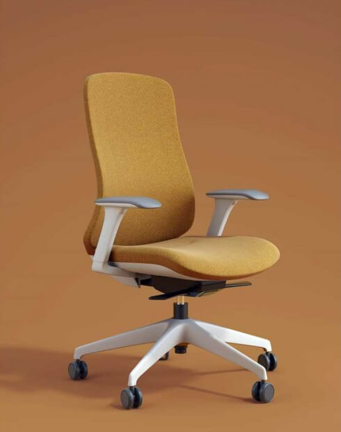 Fedo Designer Yellow Fabric Seat and Back Chair