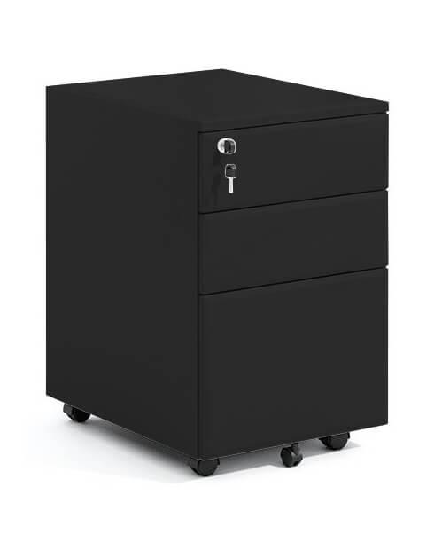 Black Steel 3-Drawer Filing and Stationary Mobile Pedestal