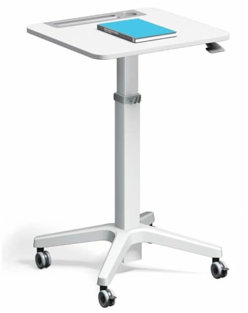 White-Leo Minimalist Mobile Height Adjustable Table