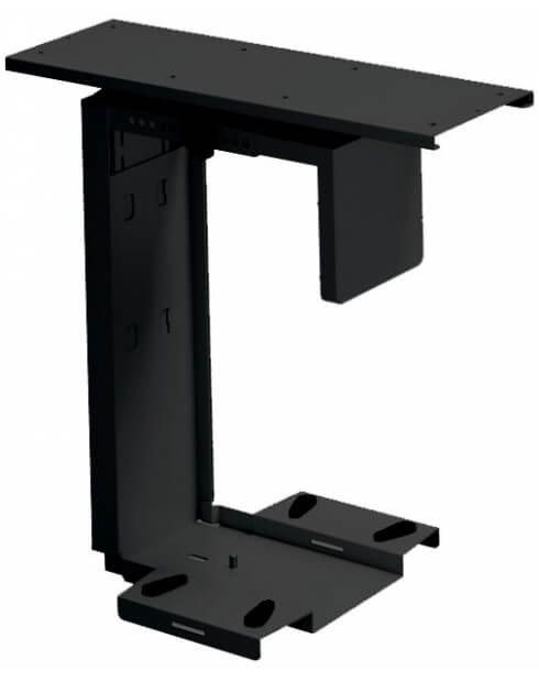Black-Adjustable Under-Desk CPU Holder with 360 Degree Swivel